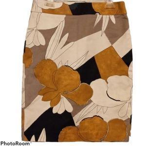 Ann Taylor Factory Skirt - Floral Print Gold Black